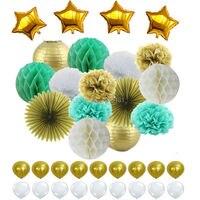 Menta Ouro Branco Lanterna De Papel Misto, Pom Pom Papel de seda, Ventilador e Bola De Papel Flor, Látex & Folha balão para a Festa Hanging Decor Favor