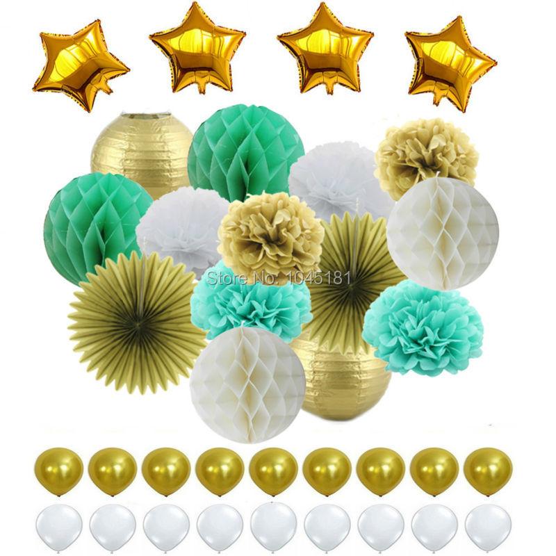 Mint Valge Kuld Mixed Paper Lantern, paberi Pom Pom, lillepuhur ja - Pühad ja peod