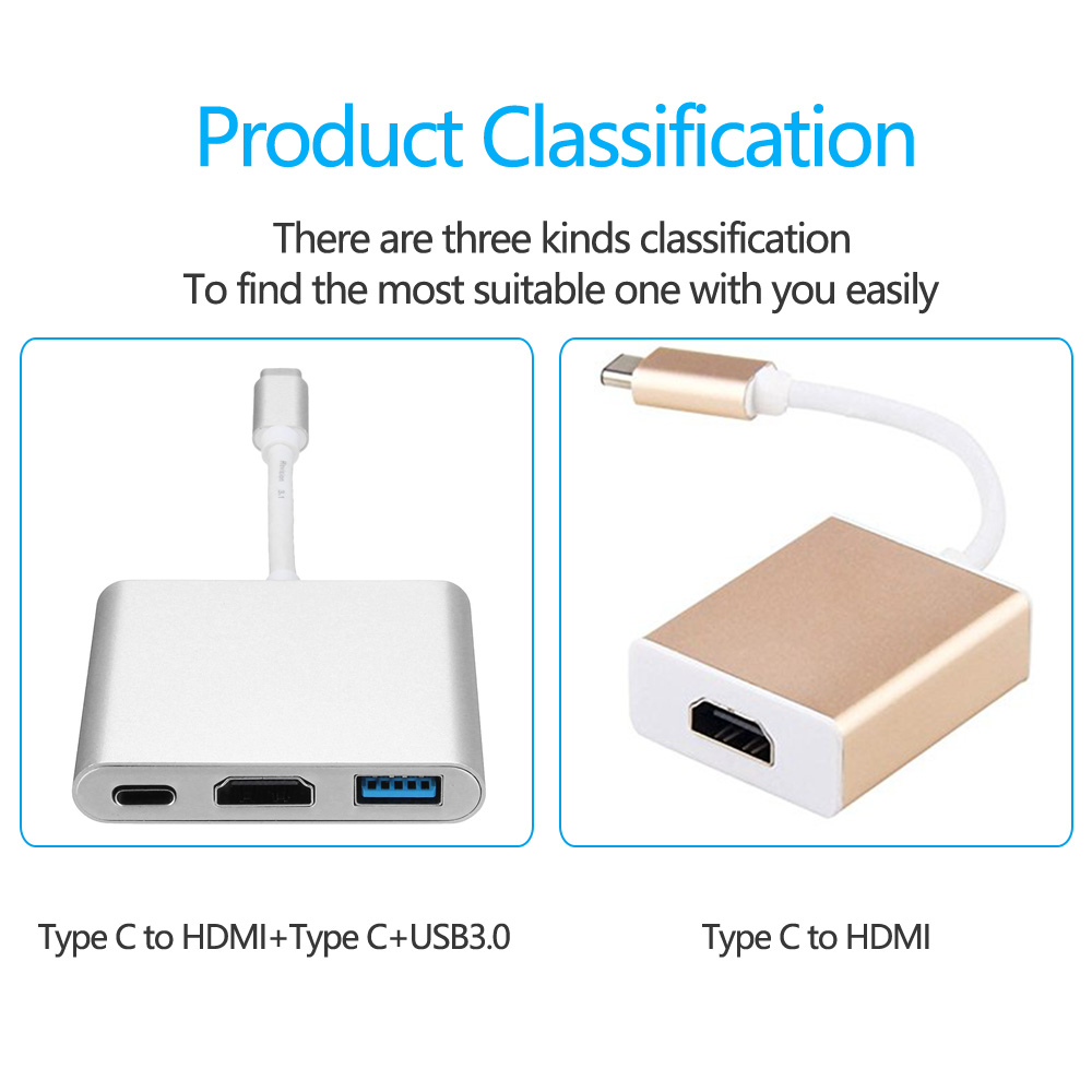 Besiuni USBC 3.1 Converter USB C Type To USB 3.0/HDMI/TypeC Female Charger Adapter for Apple Macbook and Google Chromebook Pixel