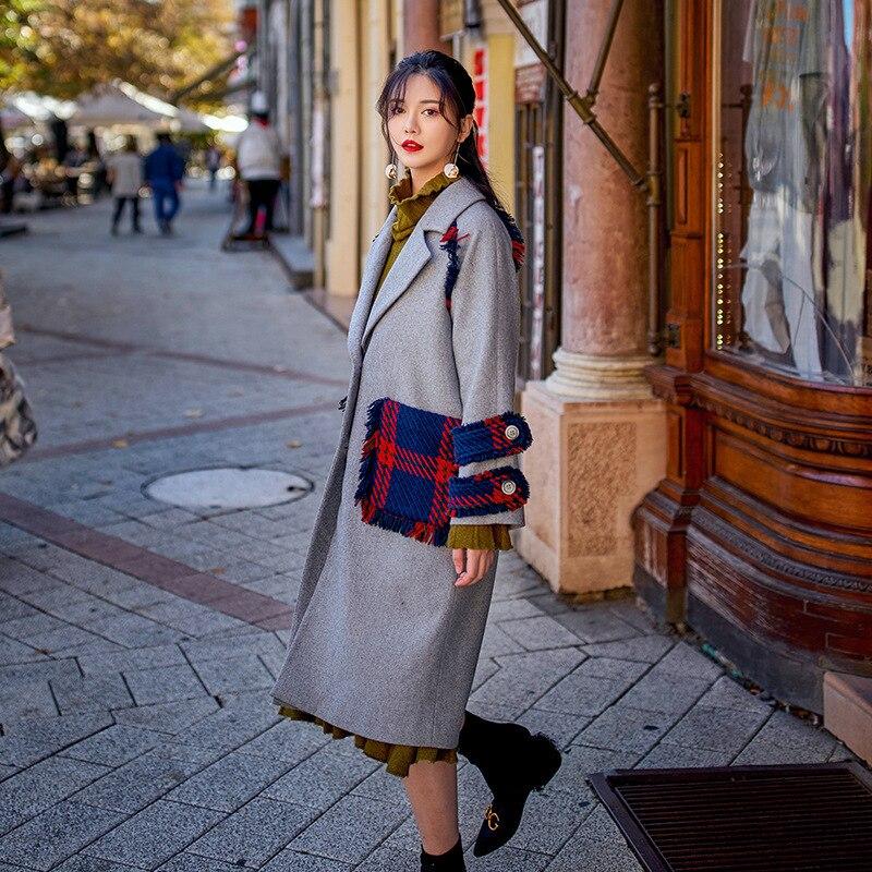 Arrivée down Nouvelle D'hiver Élégantes Mode Manteau Gray 2018 Patchwork Solide Mélanges Ceinture Féminins Femmes Bref Laine Vêtements Turn Col De 5fRRgwq0