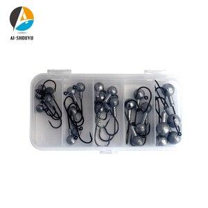 AI-SHOUYU набор рыболовных крючков 25 шт., 2 г-10 г, рыболовные крючки со свинцовой головкой с приманкой, жесткая коробка для мягкой приманки, рыболо...