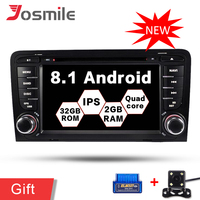 Android 8.1 Car Radio 2 Din DVD Player For Audi A3 8P/A3 8P1 3 door Hatchback/S3 8P/RS3 SportbackMultimedia Navi GPS Wifi OBD FM