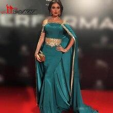 2017 Sexy Gold Perlen Spitze Jägergrün Satin Meerjungfrau Abendkleid Prom Kleider mit Mantel Lange Dubai Arabisch Lange Partei Pageant kleider
