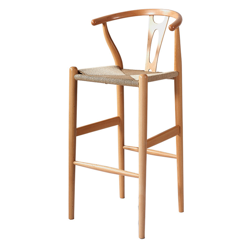 wooden wishbone chair bar stool hans wegner y chair solid beech wood bar furniture modern. Black Bedroom Furniture Sets. Home Design Ideas