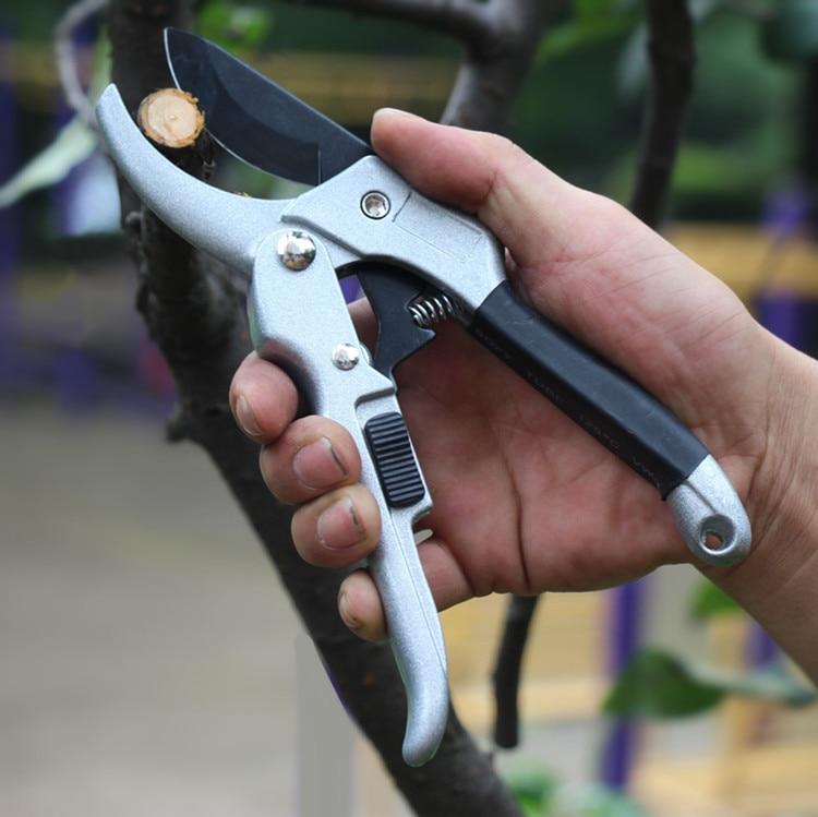 Garden Tools 20cm Ratchet Plant Trim Horticulture Hand Pruner Cut Shrub Garden Scissor Anvil Branch Shear Bonsai Orchard Pruning