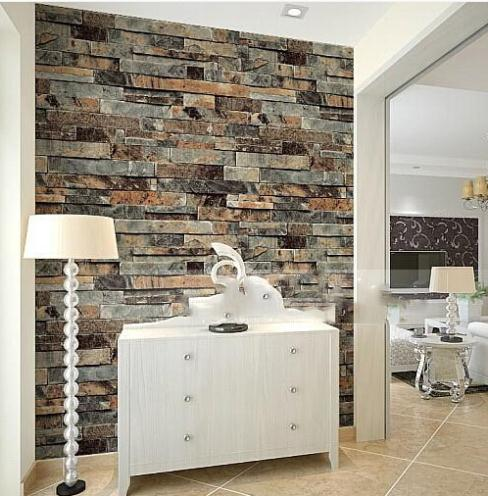 Buy modern 3d stone brick wallpaper for Wallpaper for office wall