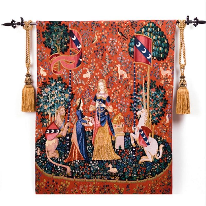 138*105 cm Stile Europeo Belgio Medievali Art Tessuti Tessili Per La Casa Unicorn Serie Camera Da Letto Nobildonna Parete Appeso Arazzo Immagine