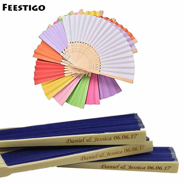 100pcs Customized Printing Personalized Wedding Silk Hand Fans