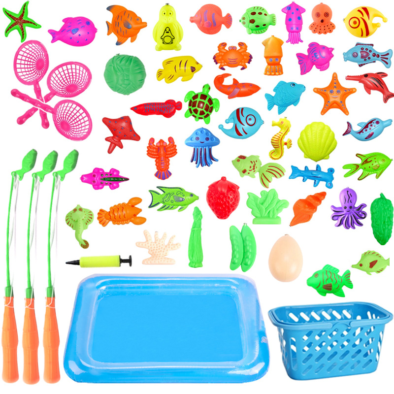 With Inflatable Pool Magnetic Fishing Toy Rod Net Set For Kids Child Model Play Fishing Games Outdoor Toys