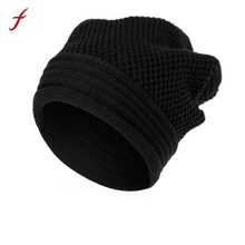 Men Women Baggy Warm Winter Wool Knitting Ski Beanie Caps Hat Autumn And Winter Thick Female Cap Fashion Hats For man 2017