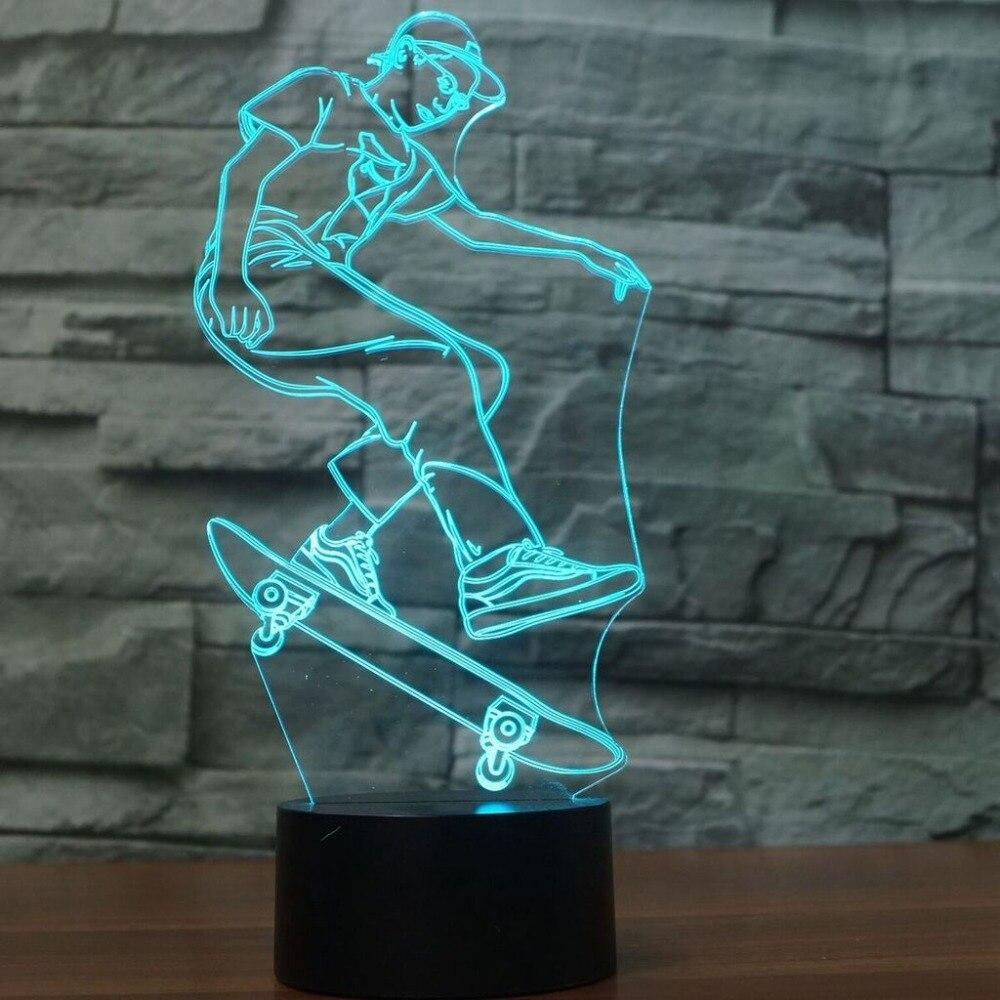 Liberal Usb 3d Nacht Lichter Tischlampe Extreme Sport Geschenke Schlafzimmer FÜhrte Skateboard Junge Luminaria Decor Nacht Baby Schlafen Leuchte Extrem Effizient In Der WäRmeerhaltung