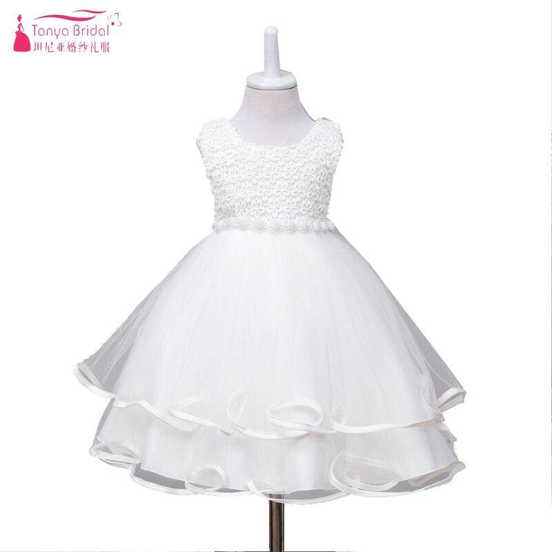 Robes de fleur de petite fille blanche Pure pour mariage et fête avec perles et dentelle enfants première communion robe Pagent porter ZF046