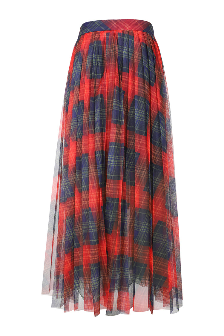New 2019 spring sumemr plaid mesh skirts Fashion women