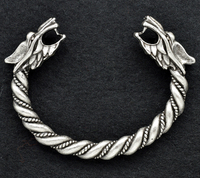 1pc Antique Silver Fenrir Wolves With Hair Detail Bracelet Norse Viking Wolf Bangles Handmade Wristlet For