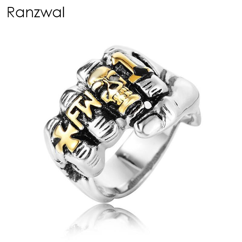 Ranzwal Punk Cool Skull Cross Finger Rings for Men 316L Stainless Steel Fist Ring Motorbiked Jewelry US SIZE 8~12 MRI134