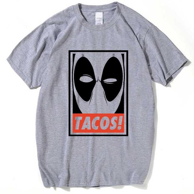 Mens Deadpool Marvel T-Shirt Gray/White Short Sleeve Tshirts