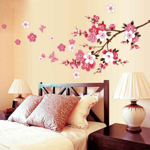 3D Removível Rosa Pêssego flor de Cerejeira Flor de Ameixa Borboleta Decalque Da Parede Da Arte Casa Decoração Da Sala de Adesivo Gráfico Das Pétalas Das Flores Da Árvore de natal