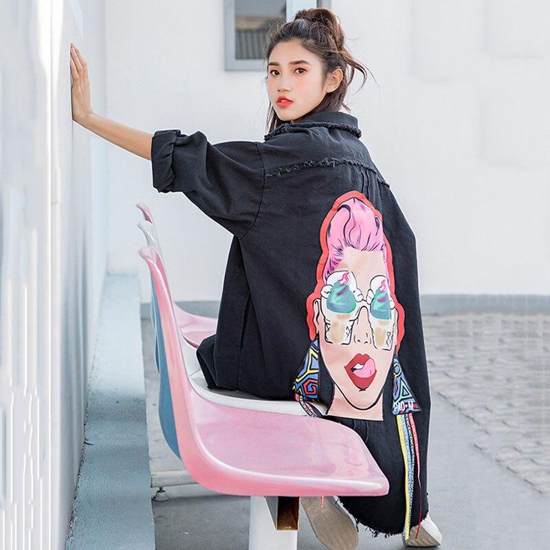2019 Spring New Pattern Korean Print Turn-down Collar Long Cowboy Loose Single Breasted Coat Woman Windbreaker YH129