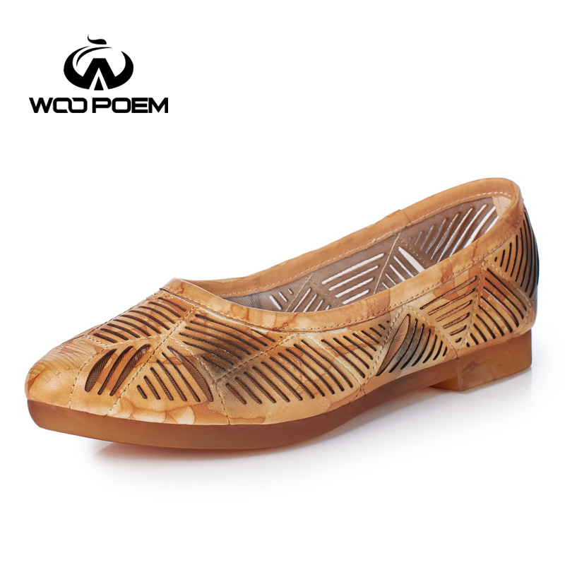 ФОТО WooPoem Genuine Leather Shoes Loafers Flats Spring Shoes Woman Low Heels Women Shoes Fretwork Hollow Casual Shoes W17X8851G
