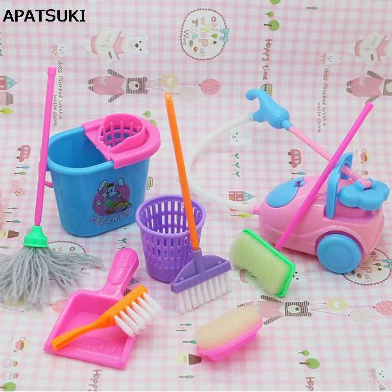 1 Набор, 9 шт., мини-аксессуары для кукол, бытовые чистящие инструменты для куклы Барби, аксессуары для кукольного домика Барби, Детская развивающая игрушка