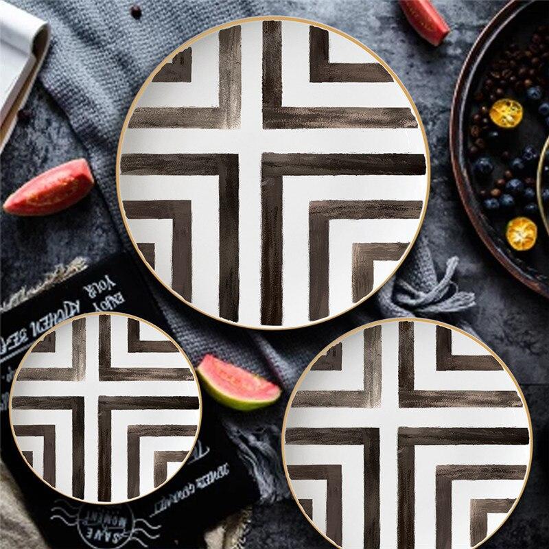 Vaisselle chinoise à grille 1 pièce | Plat en porcelaine, aliments plateau assiettes rondes, mariage Dessert Steak série ensemble croisé os vaisselle chinoise