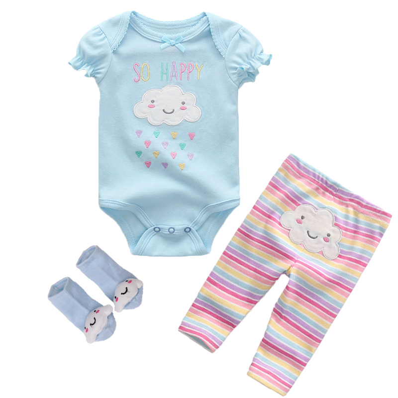 Kiddiezoom Summer 2019 3Pcs/Lot Cotton Baby Boys Girls Clothes Set Short Sleeve Baby Romper+Long Pants+Socks Kids Clothing Set