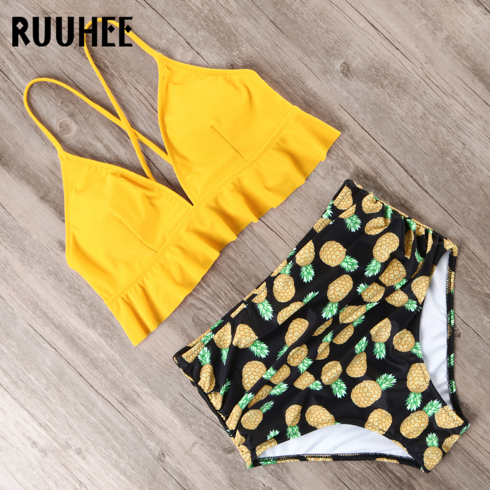 RUUHEE Bikini 2019 Swimsuit Women Swimwear Bikinis Set Push Up Bathing Suit Female Beach Wear High Waist Swimming Suit With Pad 5