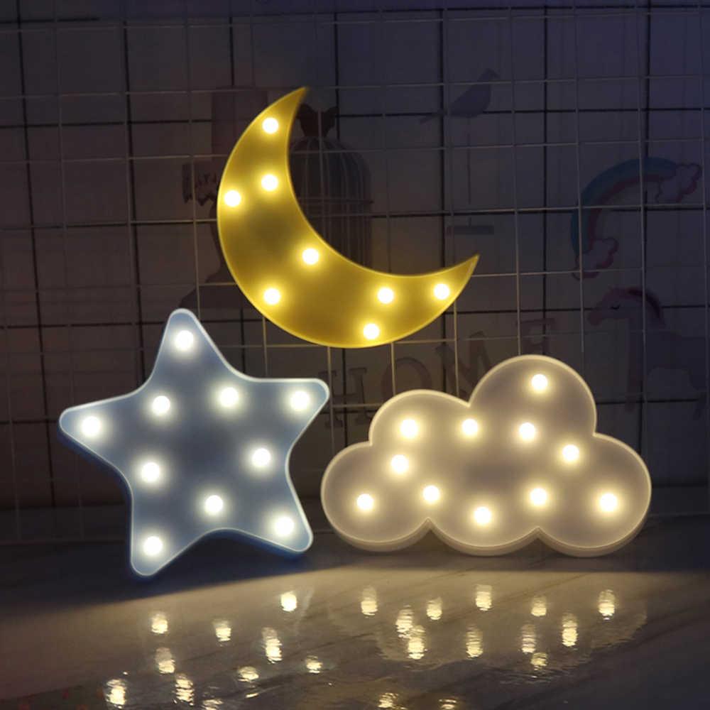 Luz diseño LED nube Linda estrella 3D noche pared de Luna lTK13FJc