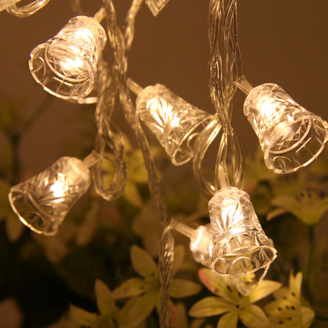 newest 20 led string lights christmas bell festoon light waterproof garden xmas tree decoration outdoor night