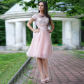 Pink Tulle Lace Cocktail Dresses 2016 Short  Sleeves Knee Length A-Line For Graduation Custom Made robe de cocktail