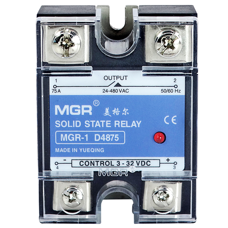 Normally open type single phase solid state relay MGR-1 D4875 75A SSR DC-AC  3-32VDC  24-480VAC dc ac single phase ssr solid state relay 120a 3 32v dc 24 480v ac