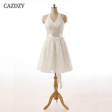 CAZDZY A Line Halter Strap Lace Women Dress Ivory Sleeveless Knee Length  Bridesmaid Dresses with Sashes and Bow a75770c98447