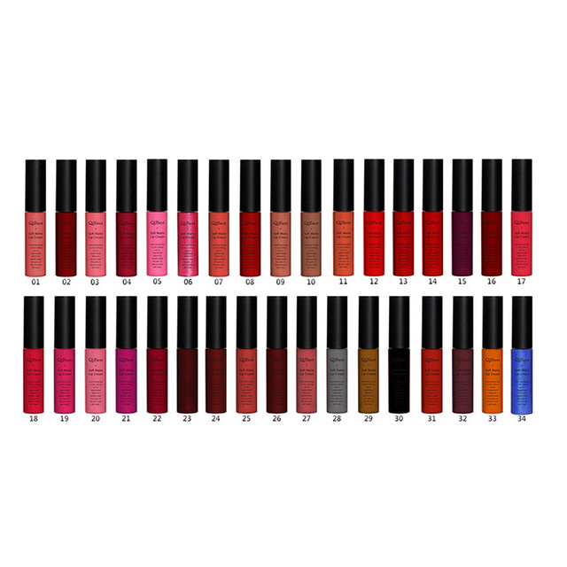 Qibest Brand Lips Beauty Makup Pigment Waterproof Lipgloss Long Lasting Black Velvet Matte Nude Lipstick Red Lip Gloss Lot 4