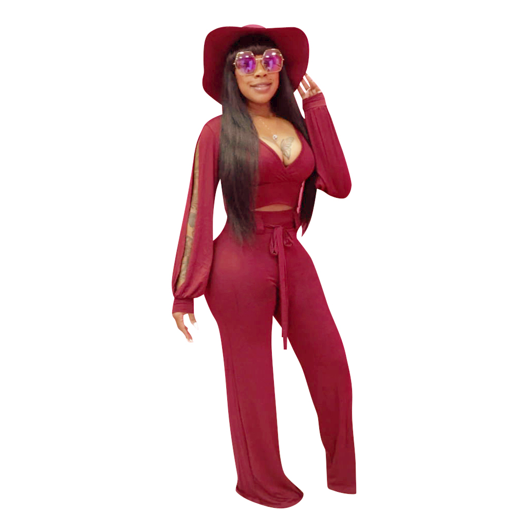 Europe and the United States women's wear long-sleeved v-neck jumpsuits sexy new spring fashion leisure jumpsuits nightclubs