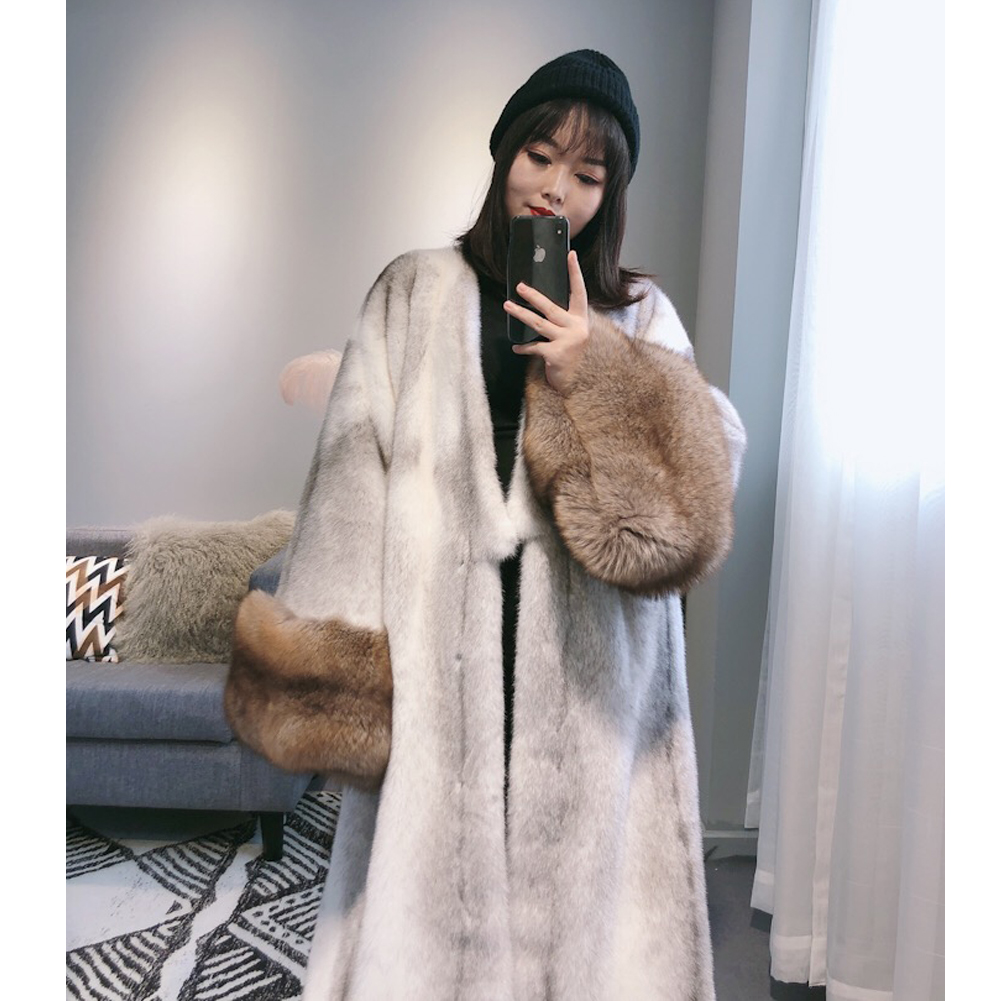 Women's Imported Mink Fur Coat Women's Autumn And Winter New Fur Coat Women's Long Mink Fur Warm Jacket