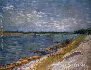 art for living room wall View Of A River With Rowing Boats by Vincent Van Gogh paintings High Quality Hand painted