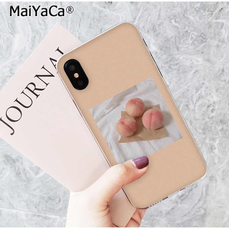 MaiYaCa ため iphone 11 プロマックスケース桃透明 TPU ソフトシリコーン電話カバー iphone 8 7 6 6S プラス 5 5S 、 SE XR X XS 最大
