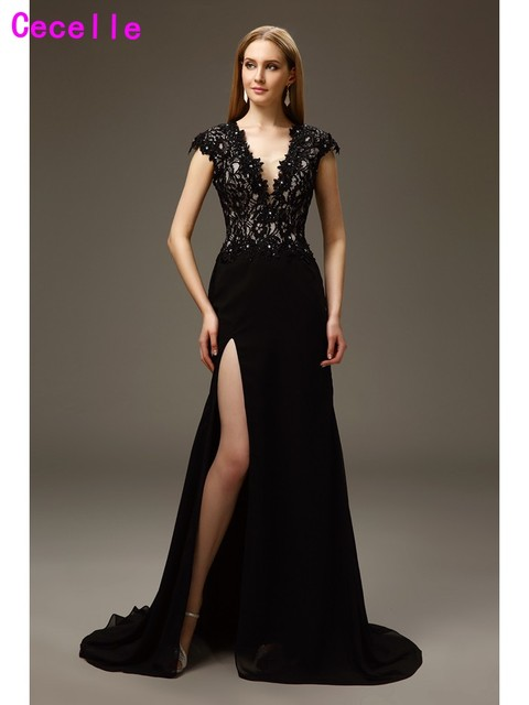 0af453a08913 2019 Elegant Black Long Sexy Mermaid Mother of The Bride Dresses Gowns Deep  V Neck Side Slit Cap Sleeves Lace Chiffon Custom
