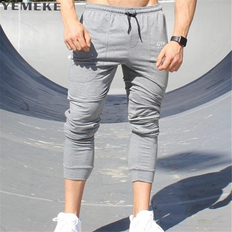YEMEKE New casual pants men brand-clothing fashion sweat pants male top quality black grey champagne casual trousers for men