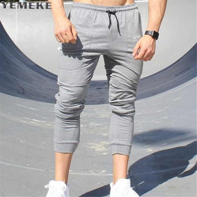 YEMEKE New casual pants men brand-clothing fashion sweat pants male top  quality black grey champagne casual trousers for men 3c784d0e9