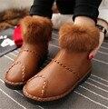 Top Quality Mulheres Neve Botas de couro Genuíno Quente de Pelúcia Sapatos de Inverno Mulheres de Pele de Coelho Ankle Boots Botas Femininas Tamanho 35-40