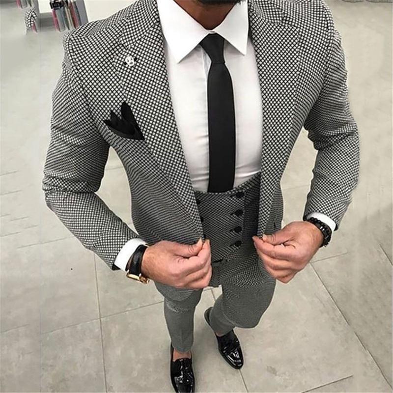 Grey Damier Check Business Tweed Men Suit Wedding Suits for Men Blazer Classic Jacket Slim Fit Tuxedo Suits With Pants Vest