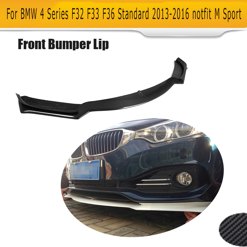 4 Series Carbon Fiber car front Bumper lip spoiler For BMW F32 F33 F36 Standard 13-16 Non Sport Convertible Black FRP 420i 428i f32 f33 f36 carbon fiber rear bumper lip diffuser spoiler for bmw f32 f33 f36 420i 428i 435i 420d 428d 435d m tech m sport