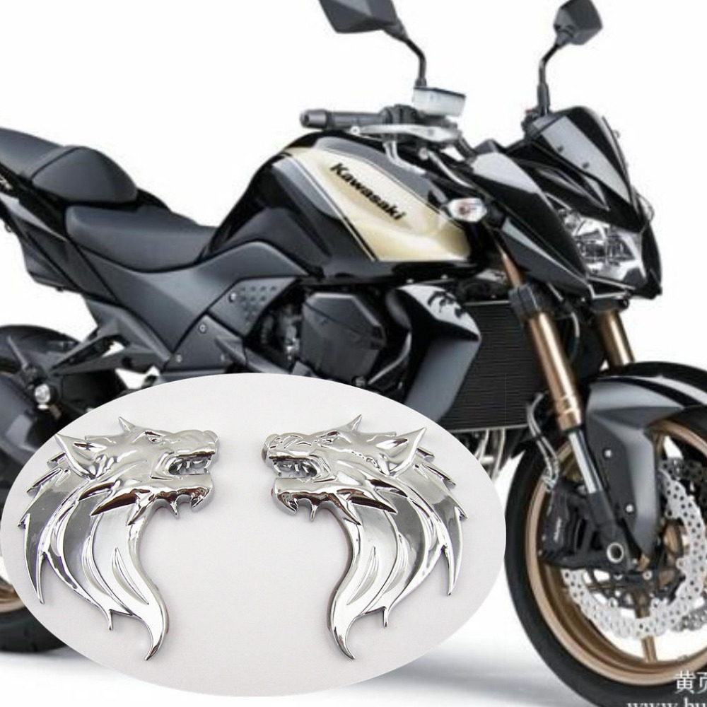 X Silver Metal D Wolf Head M Badge Decal Emblem Motorcycle - Kawasaki motorcycles stickers