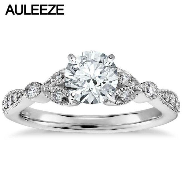 Petite Vintage Pave Leaf 1CT Simulated Diamond Engagement Ring 9k