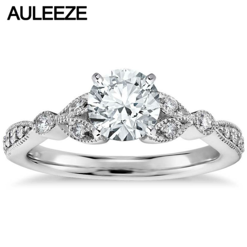 Petite Vintage Pave Leaf 1CT Simulated Diamond Engagement Ring 9k White Gold Rings For Women Classic Wedding Bands For Women