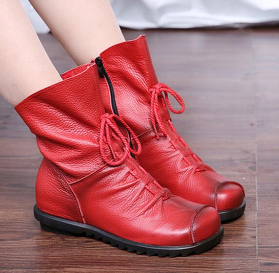 ФОТО Free shipping the famous brand of style restoring ancient ways is real leather shoes flat front zipper boots, leather soft woman
