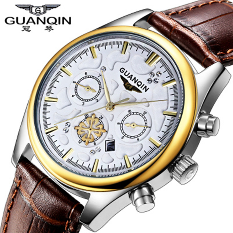 ФОТО Top Brand Luxury Original GUANQIN Quartz Watch Waterproof Leather Watch Clock Male Wristwatches Relogio Masculino Reloj
