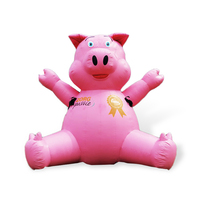 AC107 Benao 13 ft giant pink pig shape balloon toys,4 m similing pig inflatable outdoor toys For kids easter party decoration