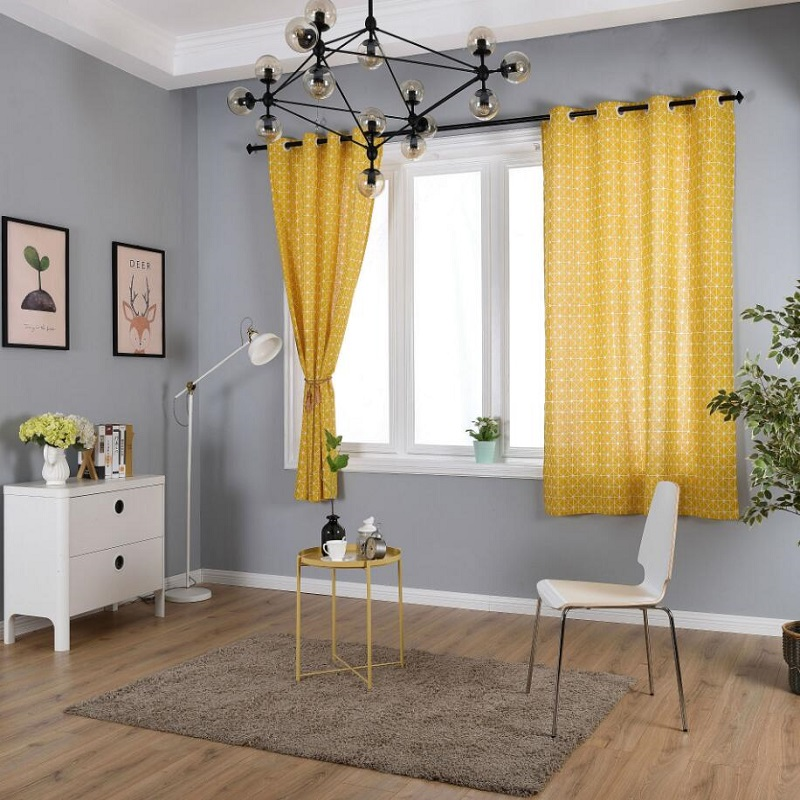 Curtains For Small Windows: Yellow Line Linen Cotton Blackout Curtains For Living Room